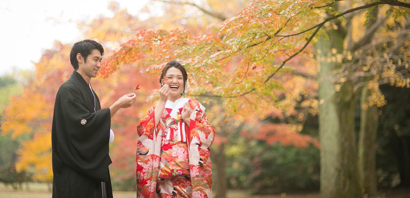 仙台で和装の紅葉フォトウェディング