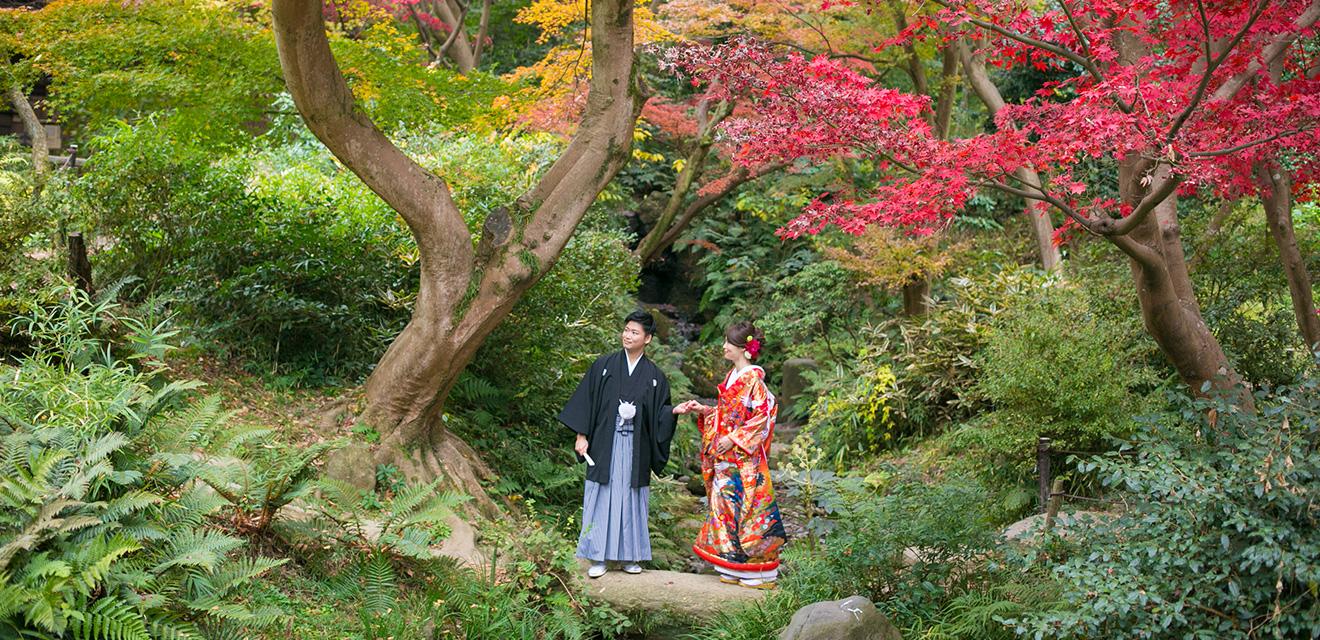 三渓園で紅葉フォトウェディング