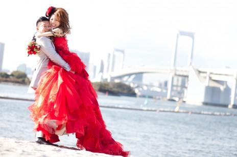 お台場 ドレス 結婚写真