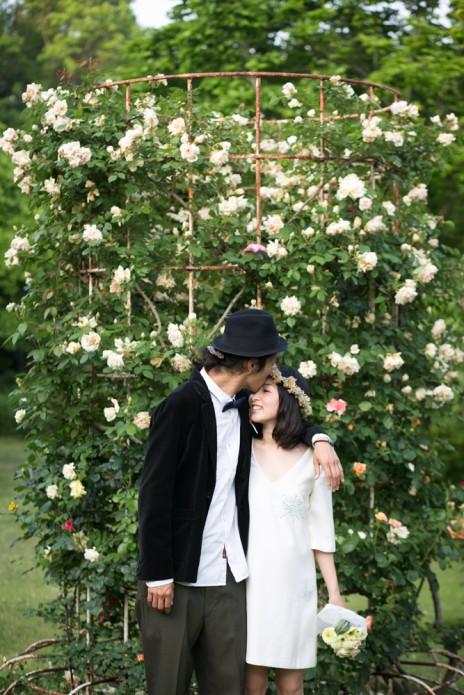 結婚写真 花 バラ
