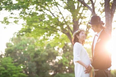 結婚写真 新緑 マタニティー