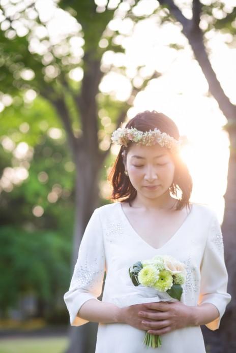 結婚写真 新緑 花冠