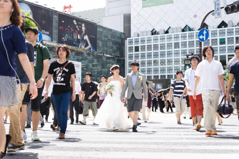 渋谷スクランブル交差点,結婚写真
