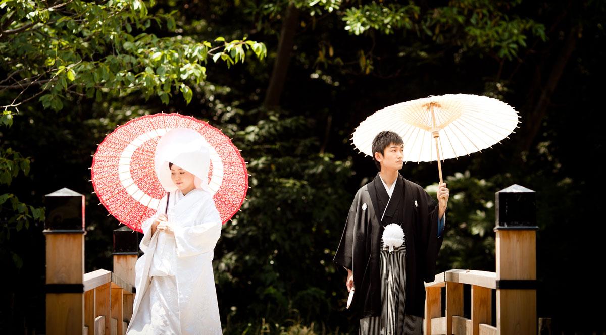 日本庭園で和装前撮り撮影
