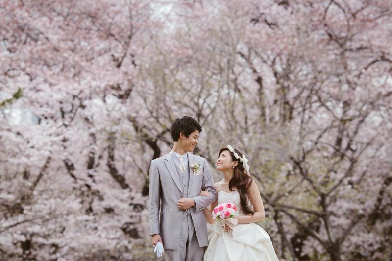 春のウェディングフォトなら。桜満開の代々木公園がGOOD!